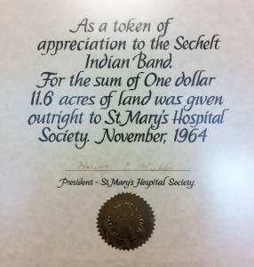 Token of apreciation Sechelt Indian Band